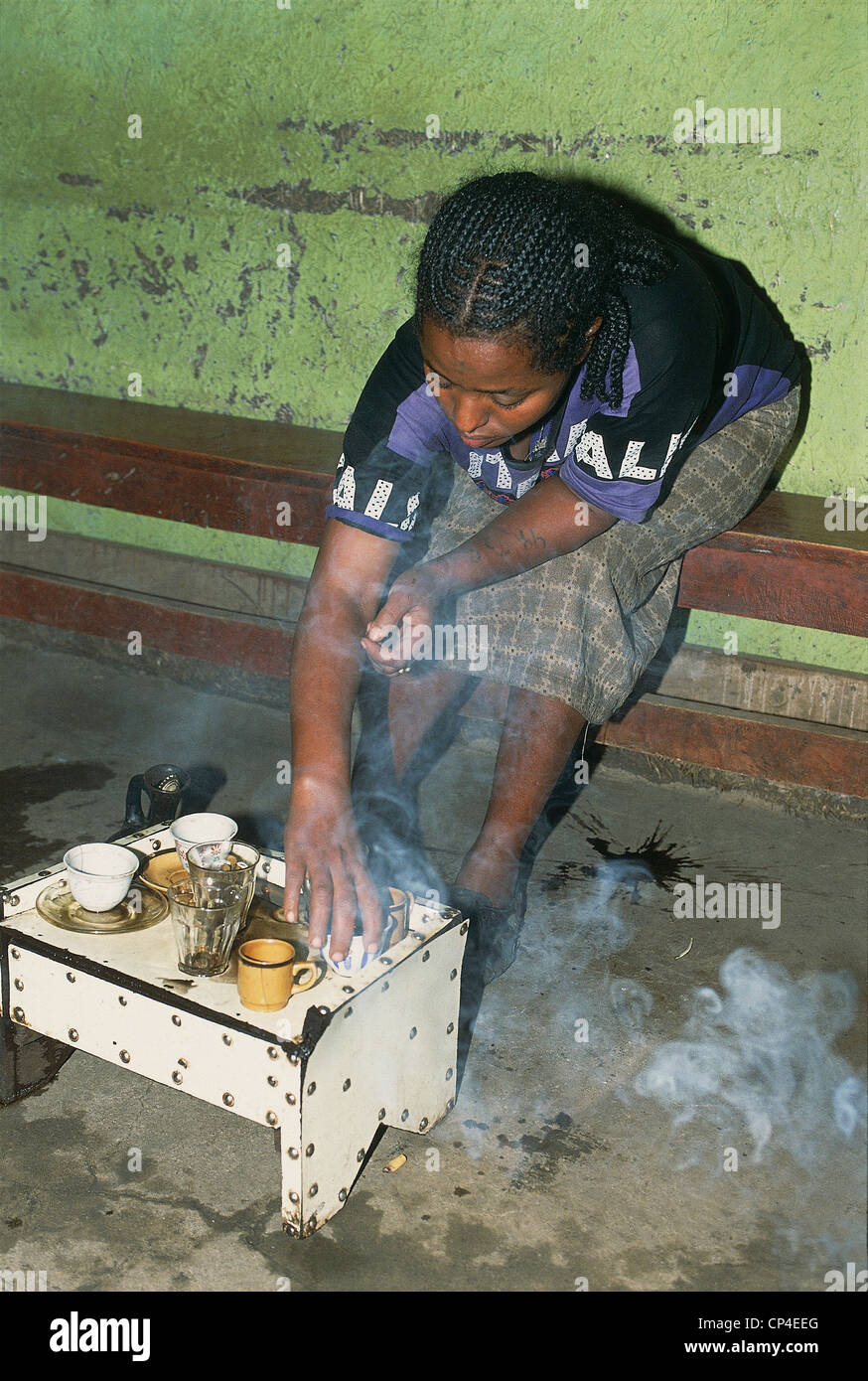 Ethiopia - Welo - Around Weldiya. Making coffee. - Stock Image