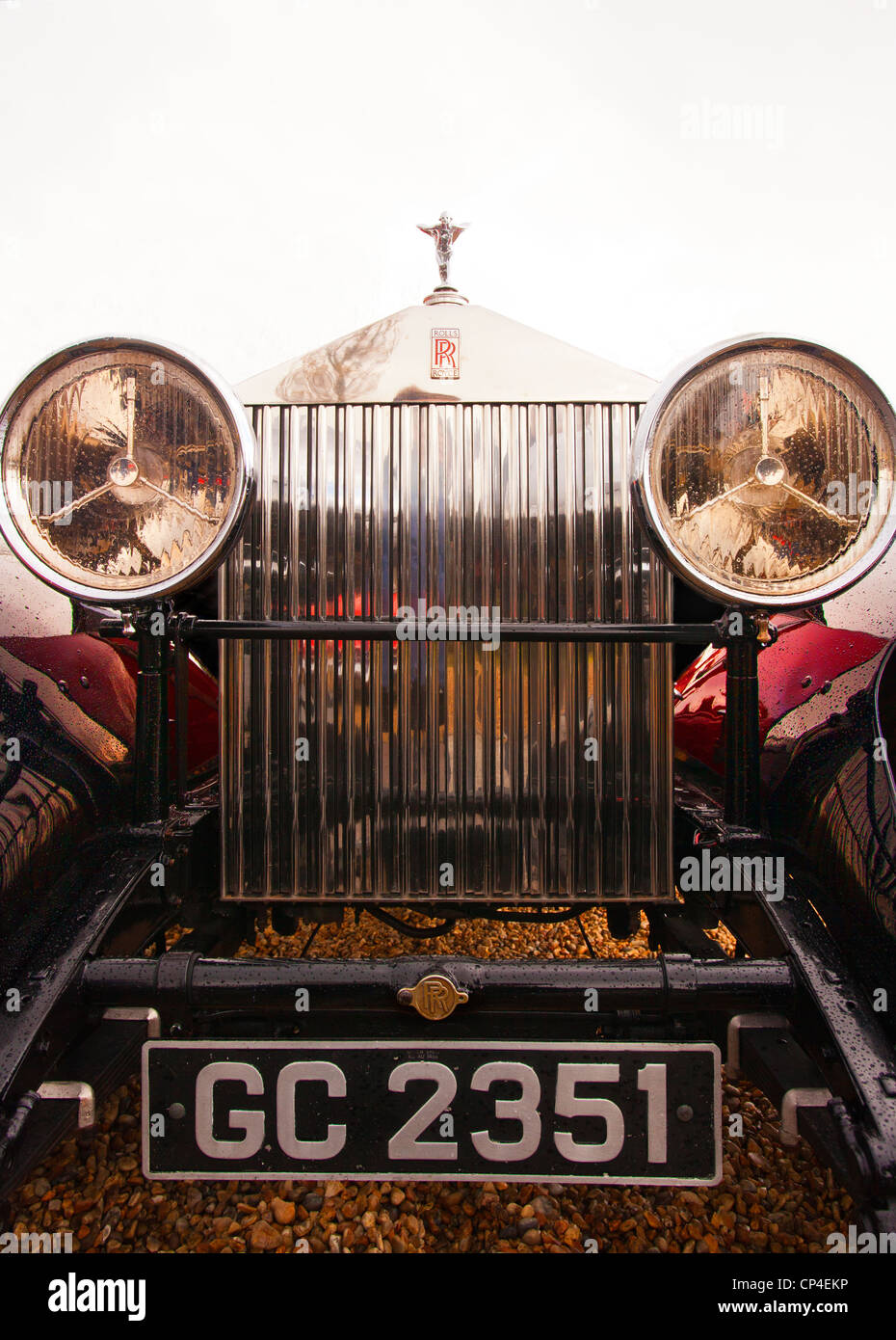 Headlights and radiator of a vintage Rolls Royce car. I was told it ...