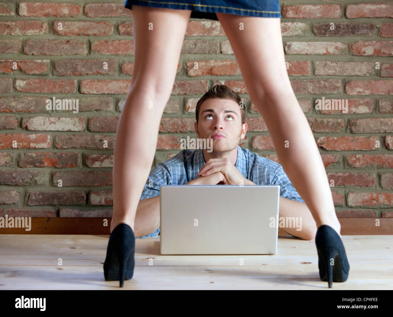 man at the computer,seduction - Stock Image