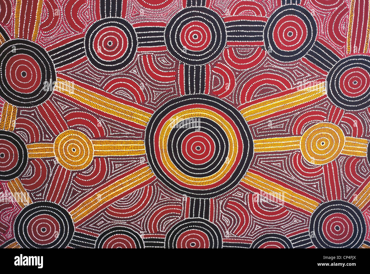 Australia - Uluru-Kata Tjuta National Park. Aboriginal painting in the hotel Sheraton. - Stock Image
