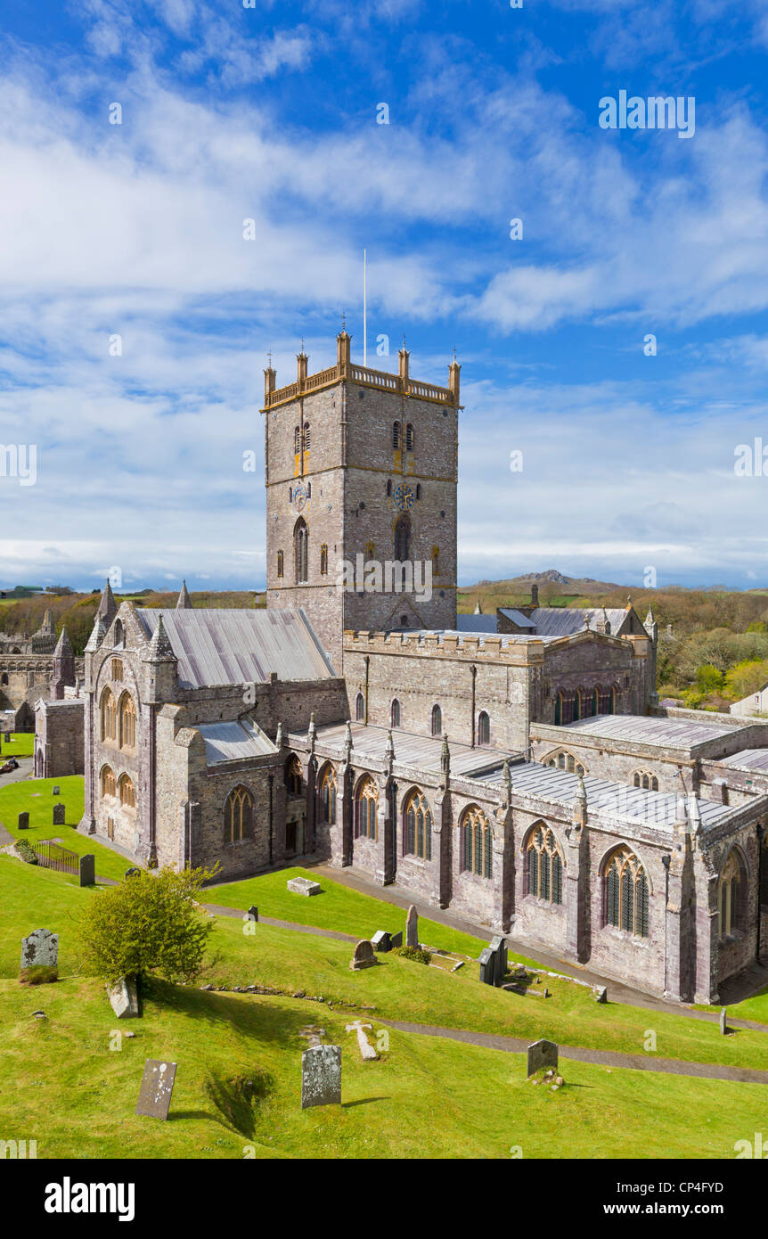 St Davids Cathedral Pembrokeshire west Wales UK GB EU Europe - Stock Image