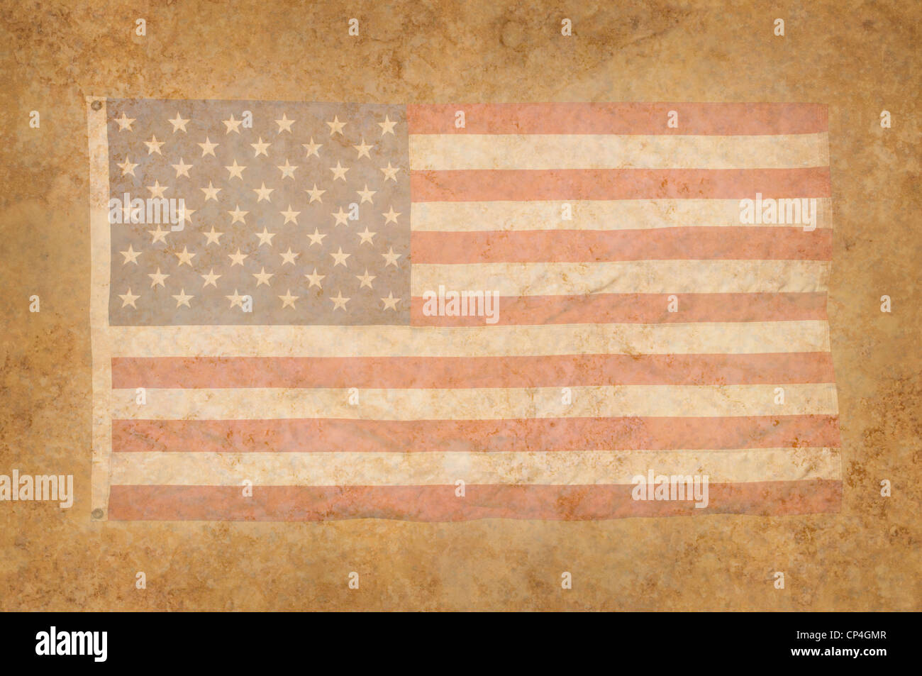 Grungy American Flag within a mottled background texture - Stock Image