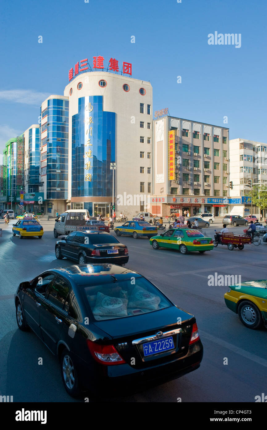 One of the main roads in the city of Yinchuan, China. Stock Photo