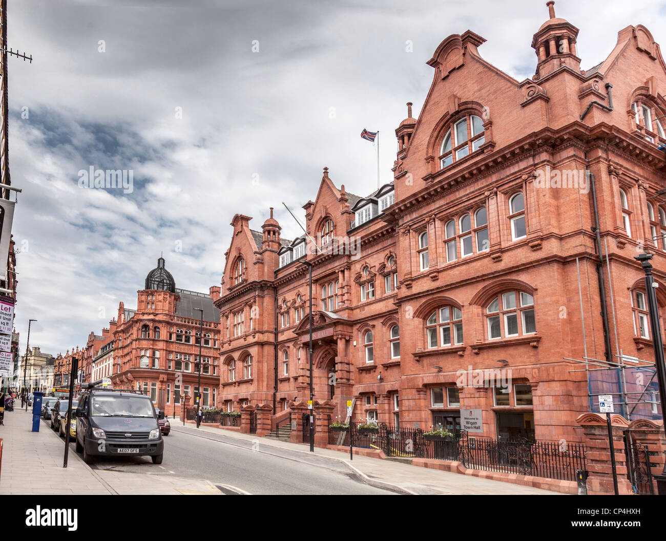 Wigan Town Hall in Library Street, formerly the home of Wigan Technical College. - Stock Image