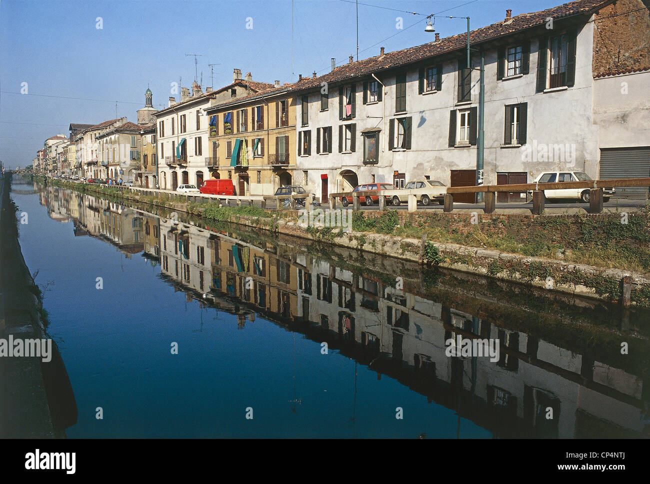Lombardy - Milan. Houses along the great vessels. - Stock Image