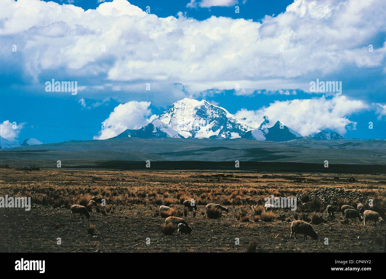 CORDILLERA REAL, BOLIVIA The Illampu ANCOHUMA - Stock Image