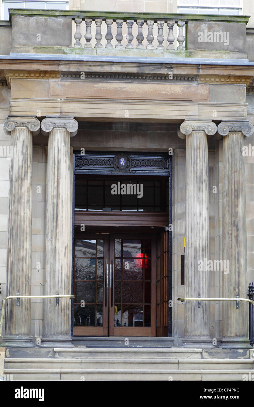 Entrance to the Blythswood Square Hotel housed in the former Royal Scottish Automobile Club building in Glasgow - Stock Image