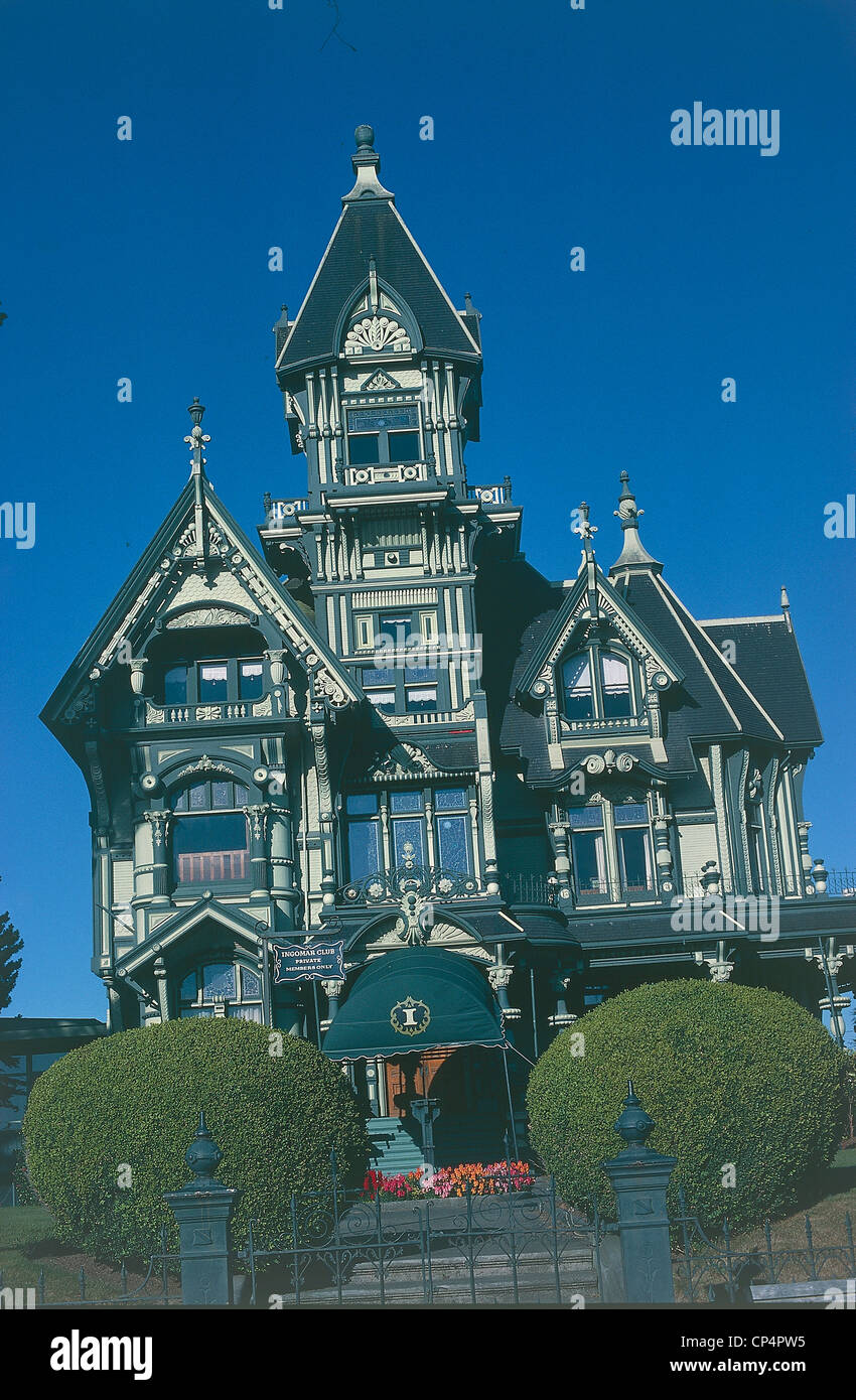 Unido States of America - California - Eureka. The Carson Mansion in Old Town or Victorian Gilded Age, 1886. - Stock Image