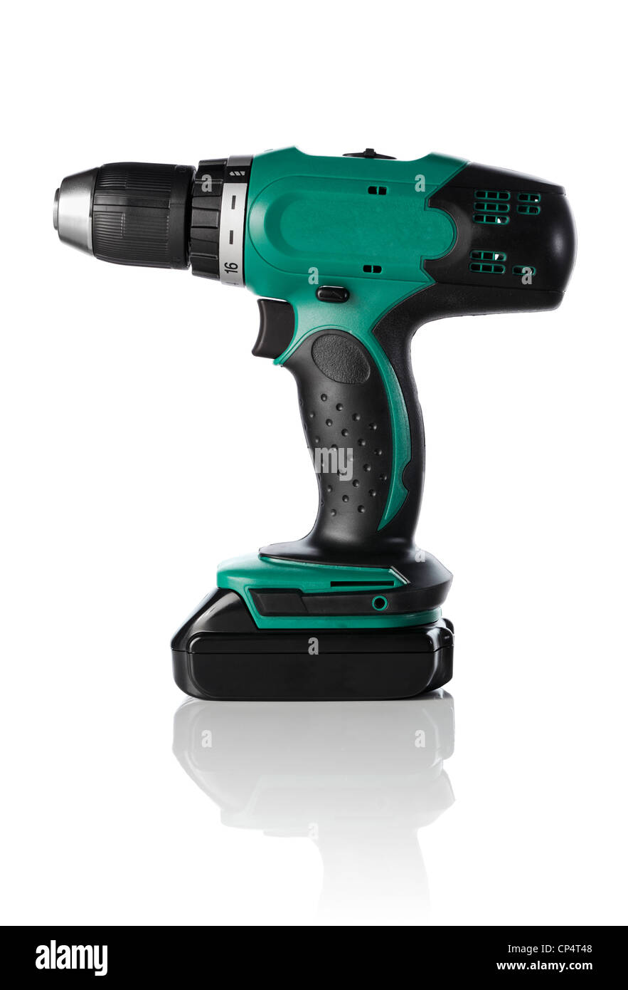 Professional grade battery-powered cordless electric drill. - Stock Image