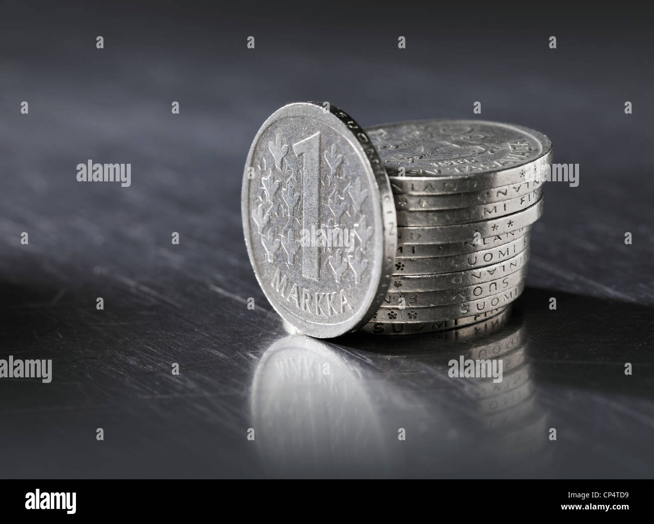 Finnish 1 Markka coins. This type of coin was struck and used between 1964 and 1993. - Stock Image