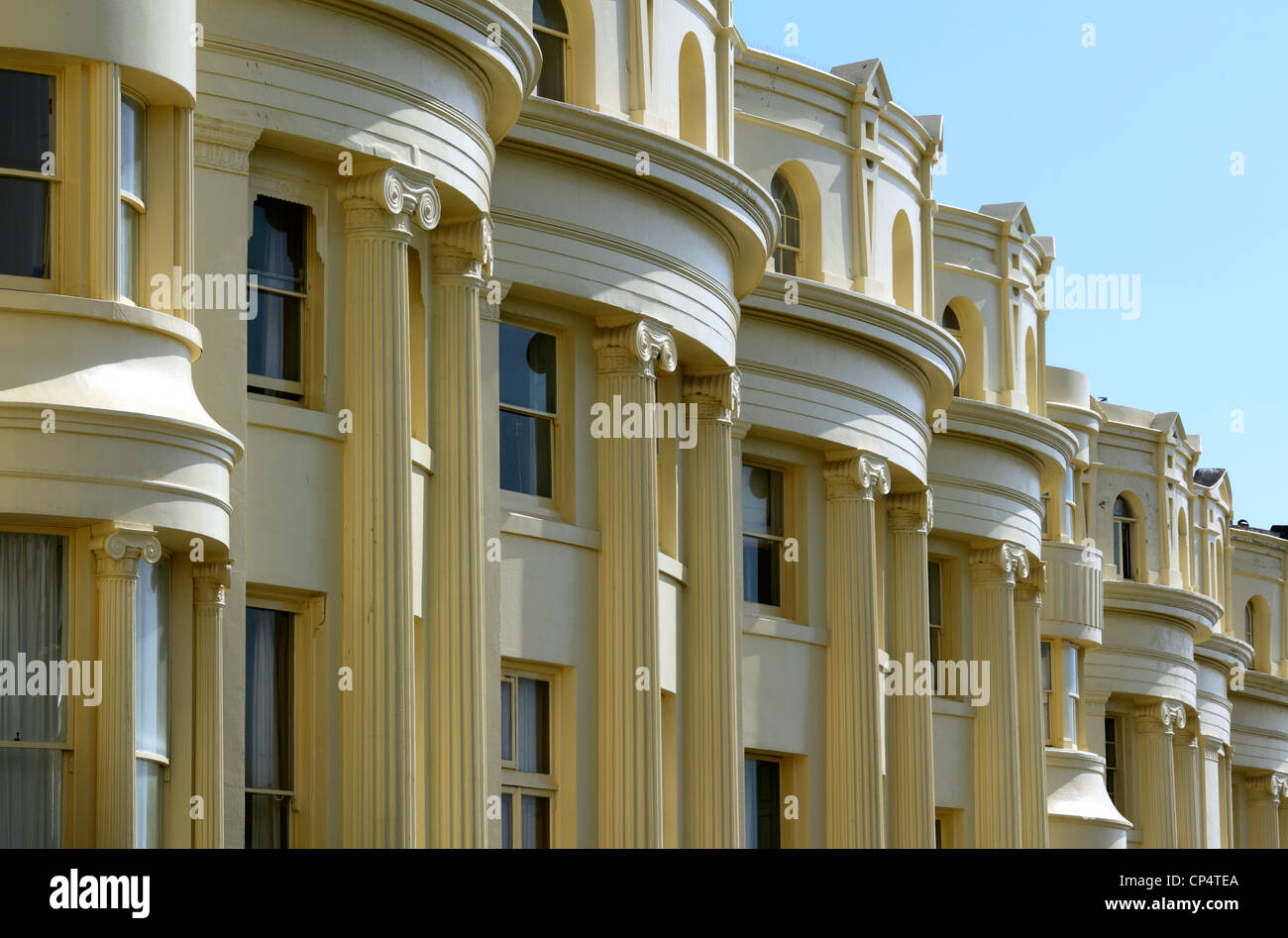 Regency terraces in Brunswick Square, Brighton and Hove, East Sussex. - Stock Image