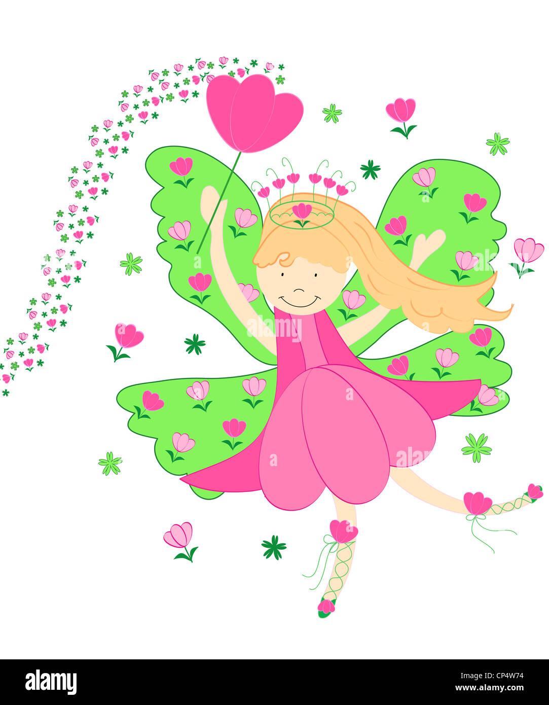 Cute pink tulip fairy illustration Stock Photo