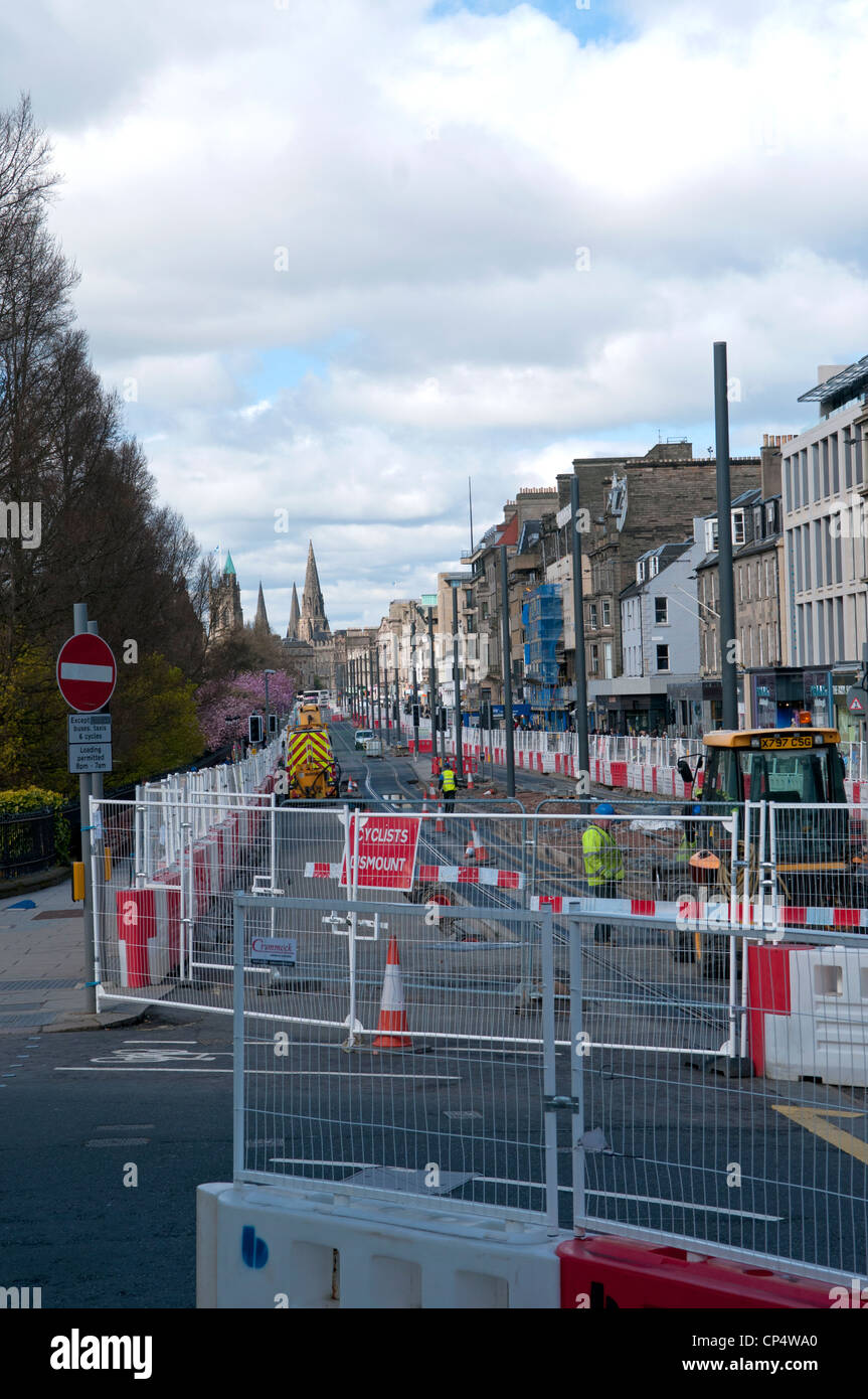 Construction work on Princes street for the new tramway system in Edinburgh, Scotland - Stock Image