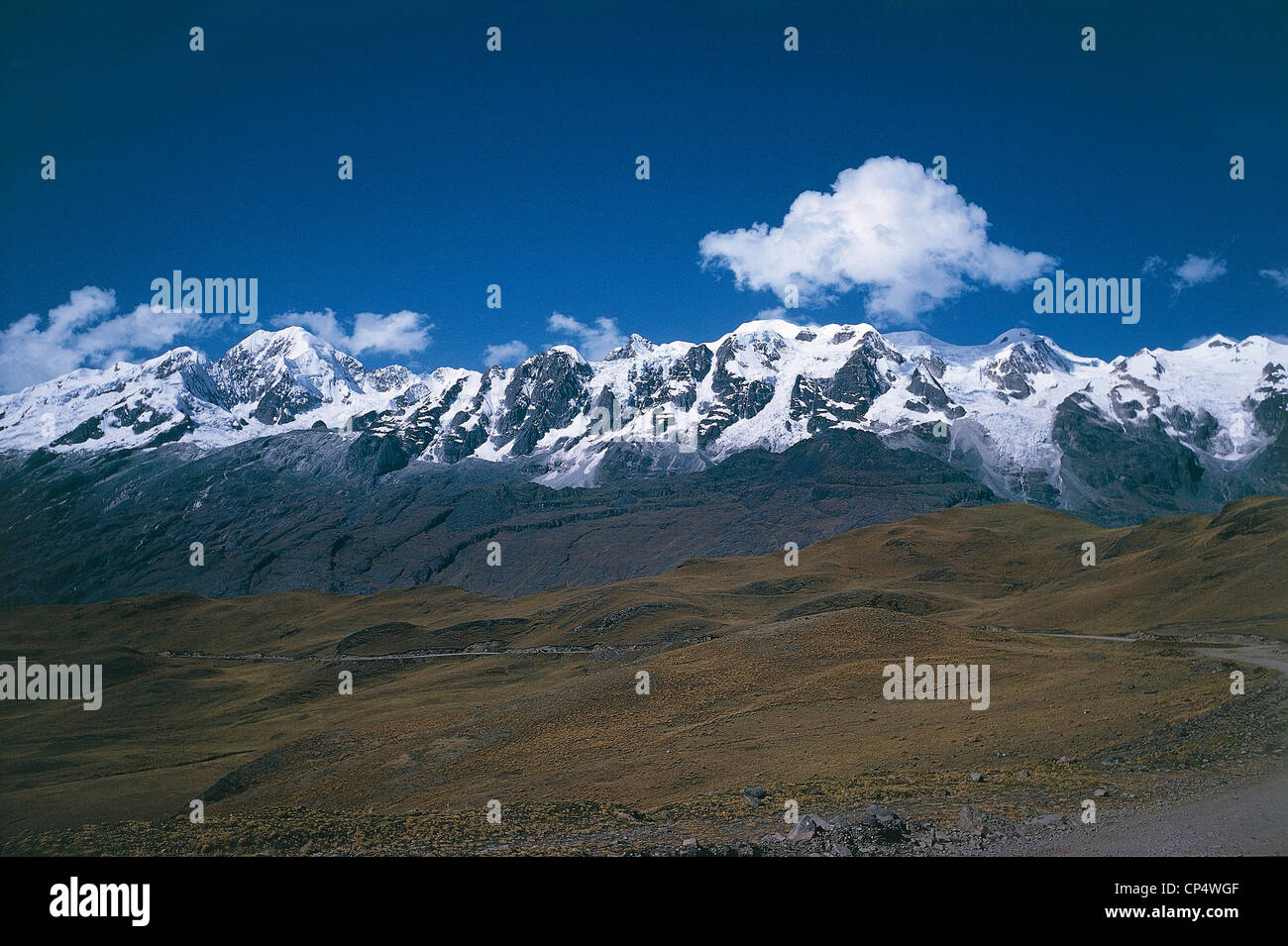 Bolivia - The snowy peaks of the Cordillera Real. - Stock Image