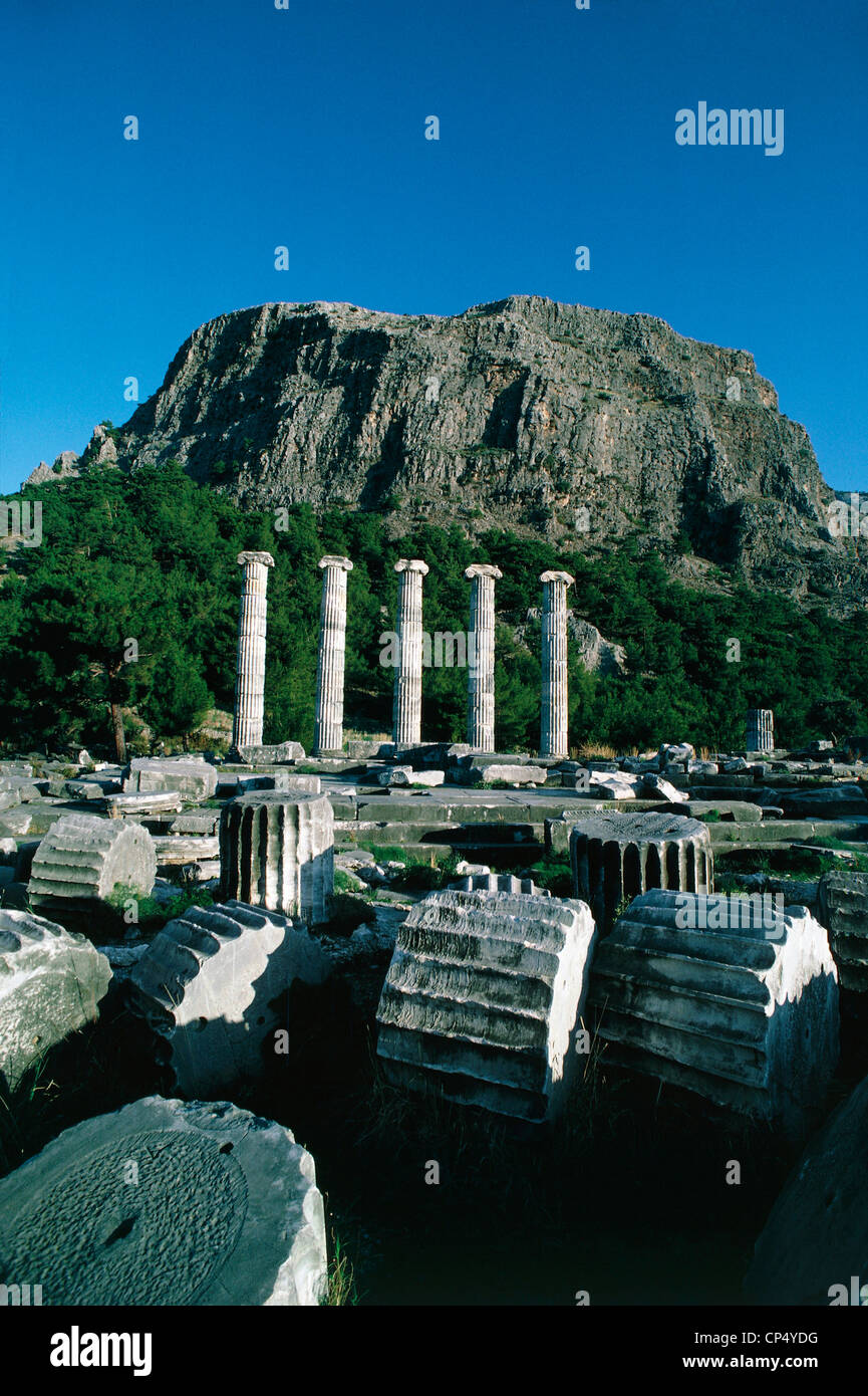 TR Priene Temple of Athena - Stock Image