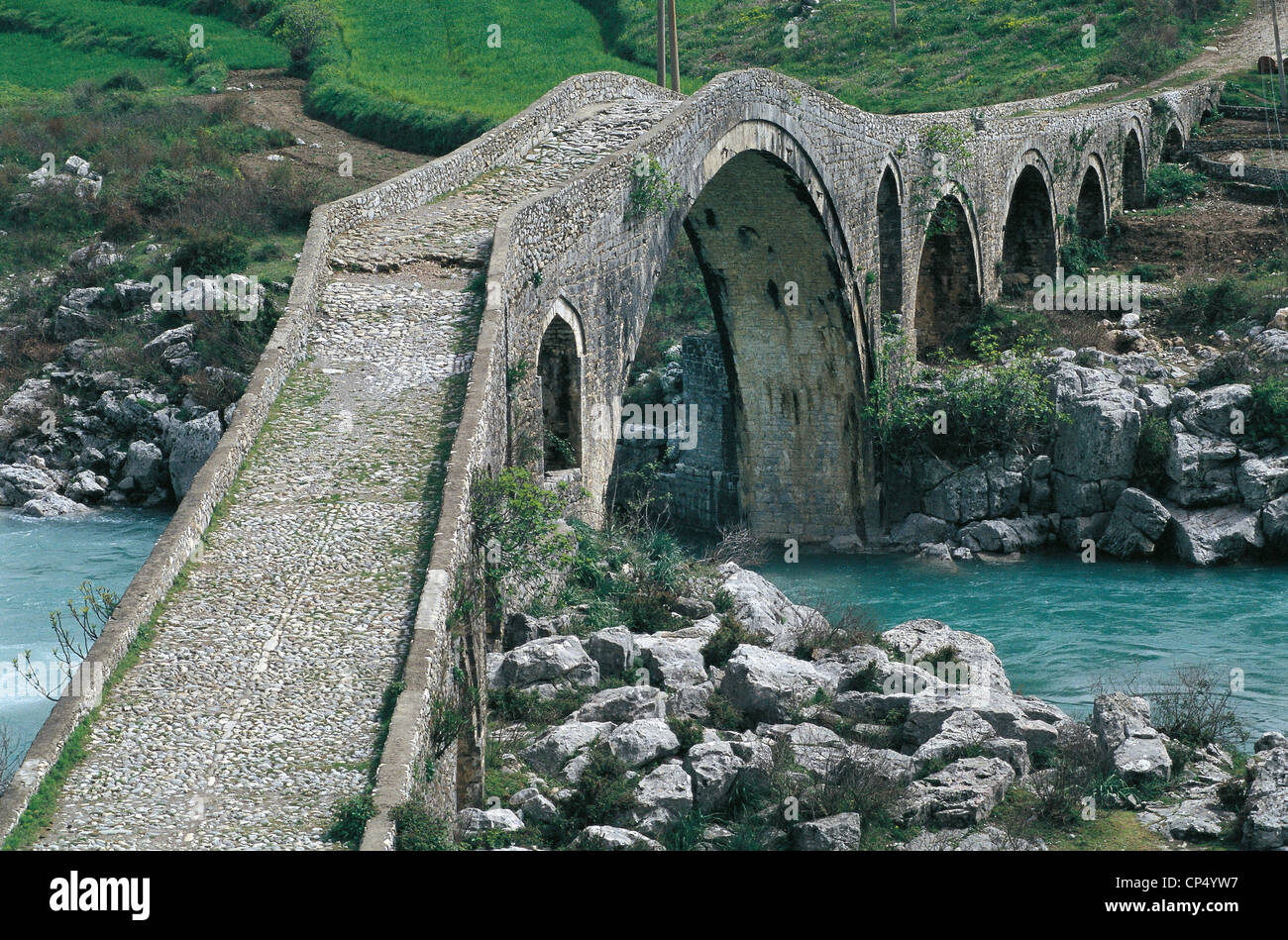 Albania - The Bridge on the River Mes Kiri, near Scutari (Shkodra), turkish style of the eighteenth century. - Stock Image