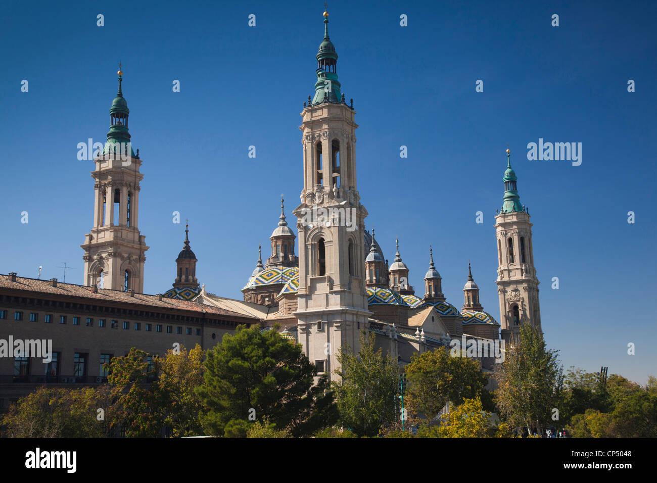 Spain, Aragon Region, Zaragoza Province, Zaragoza, Basilica de Nuestra Senora de Pilar - Stock Image