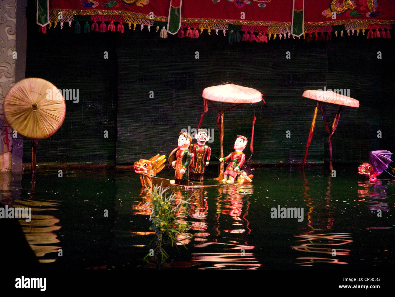 Water puppets 'dance' on water in popular performances in Hanoi - Stock Image