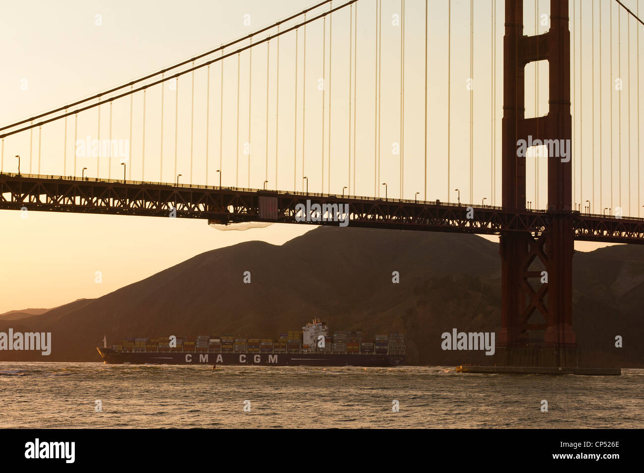 A CMA CGM shipping vessel leaves the San Francisco bay - Stock Image