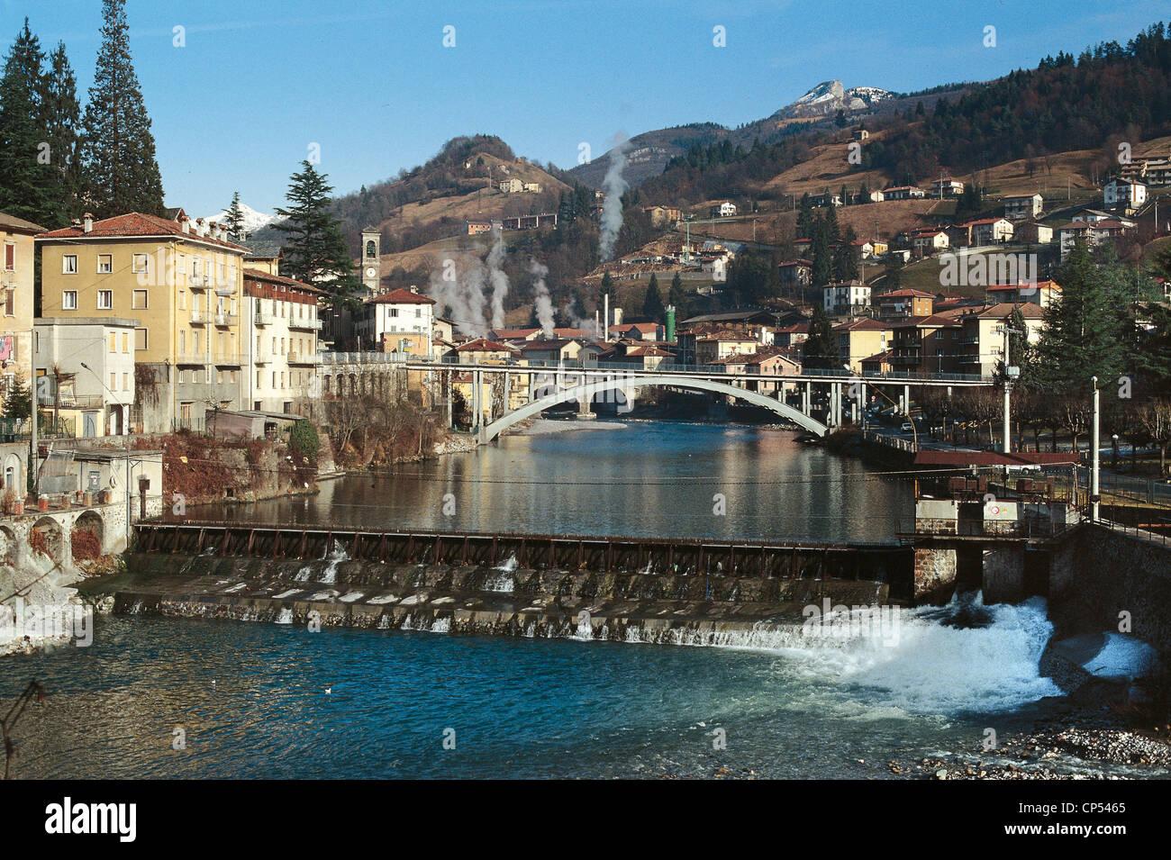 Lombardy - Val Brembana. John White River Brembo - Stock Image