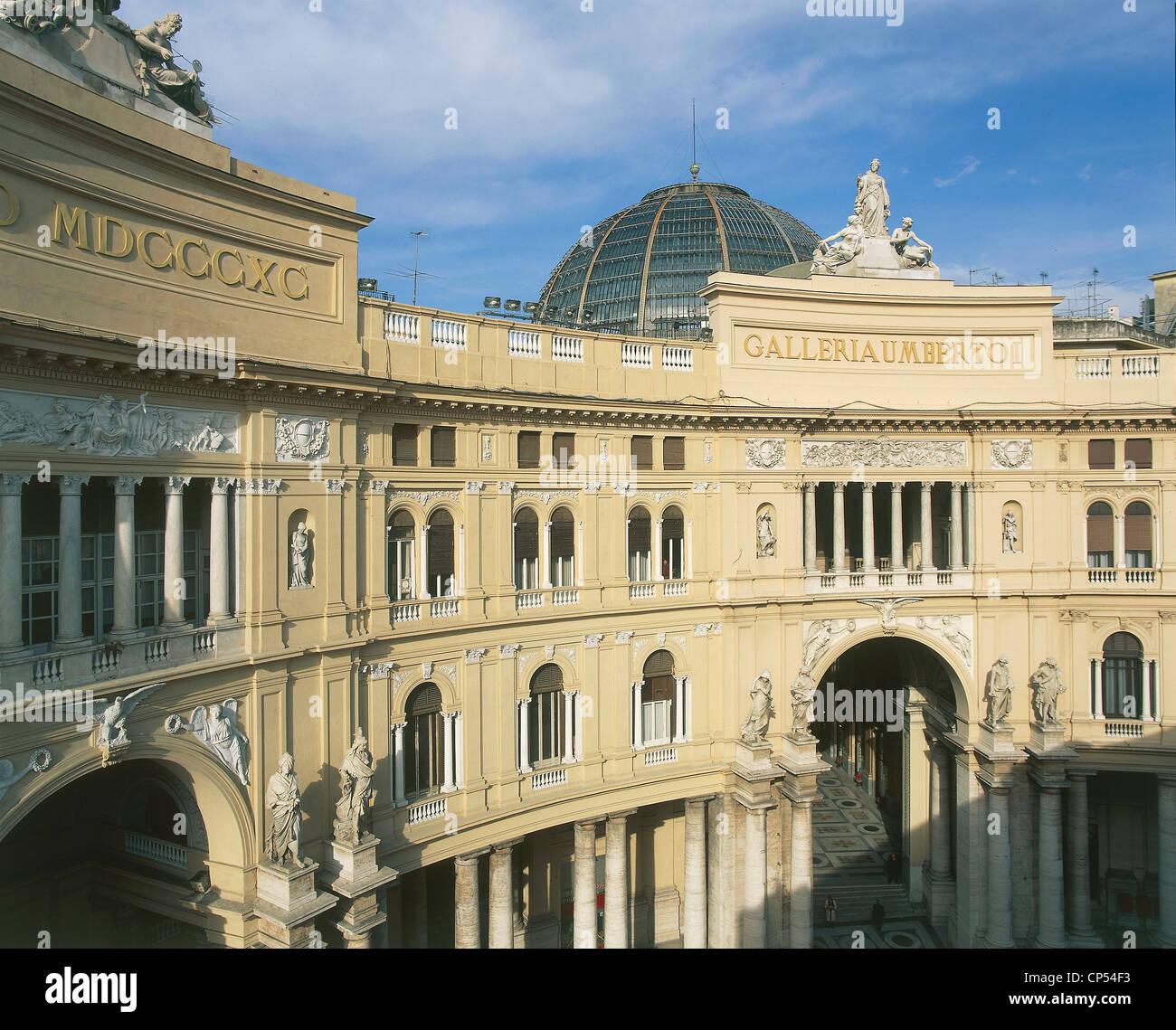 Campania - Naples. Galleria Umberto I, the nineteenth century. - Stock Image