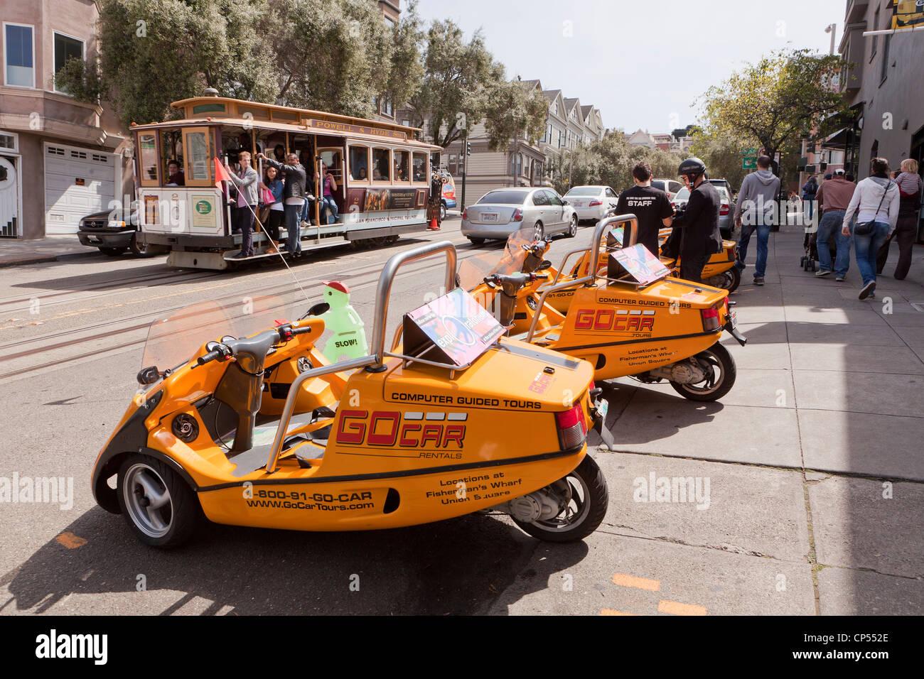 GoCar tour carts - San Francisco, California USA - Stock Image