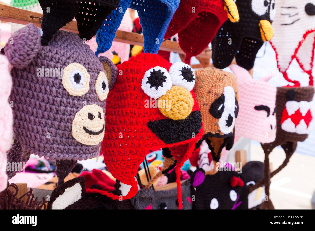 Assorted character knit trapper hats - Stock Image