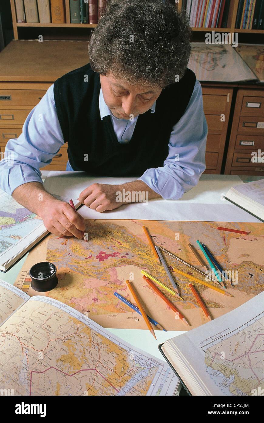 Graphic Design Workshops Maps Color Elevation - Stock Image