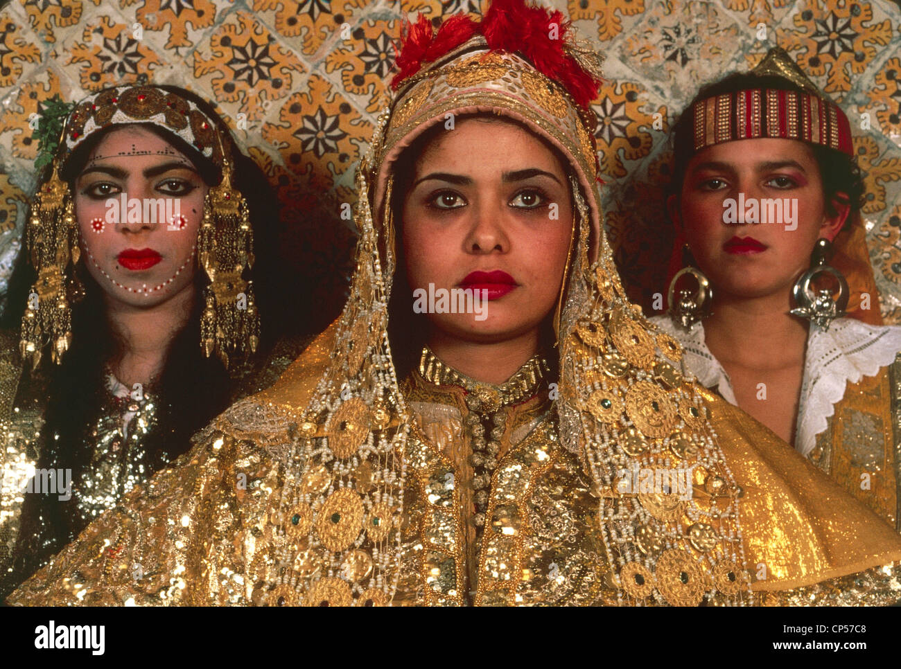 Tunisia, Tunis. Woman wearing the traditional Muslim marriage dress ...