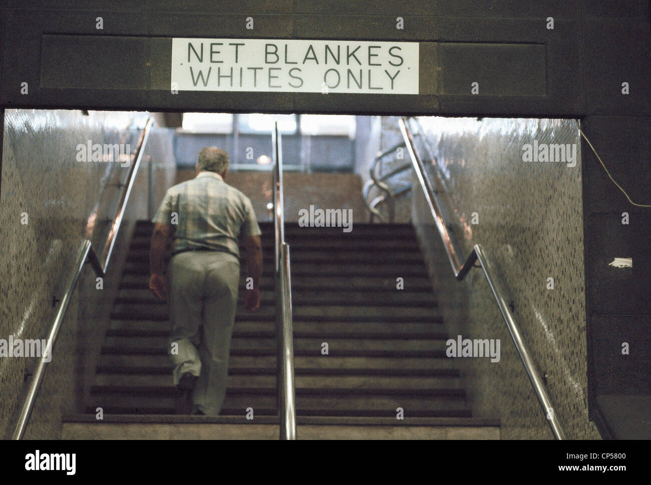 Johannesburg Republic Of South Africa Apartheid Racist Sign On A Scale - Stock Image