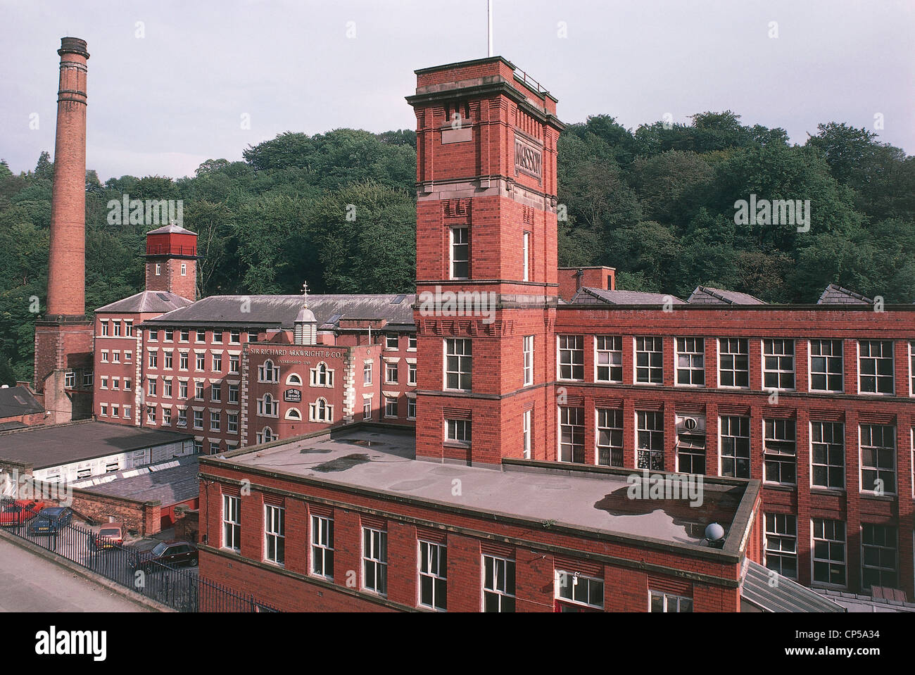 United Kingdom - England - Industrial Archaeology. Masson Mill in Matlock Bath. - Stock Image