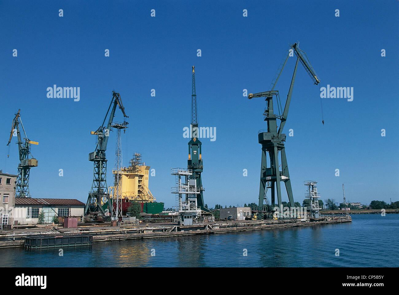 Poland - Pomerania - Gdansk - Ports on the river Motlawa. - Stock Image