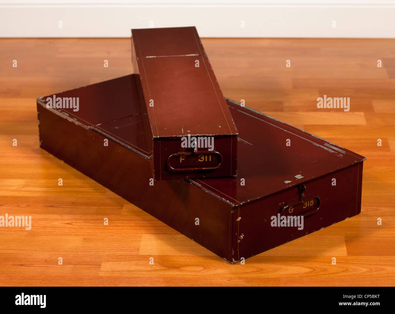 Two sizes of bank safe deposit boxes - Stock Image