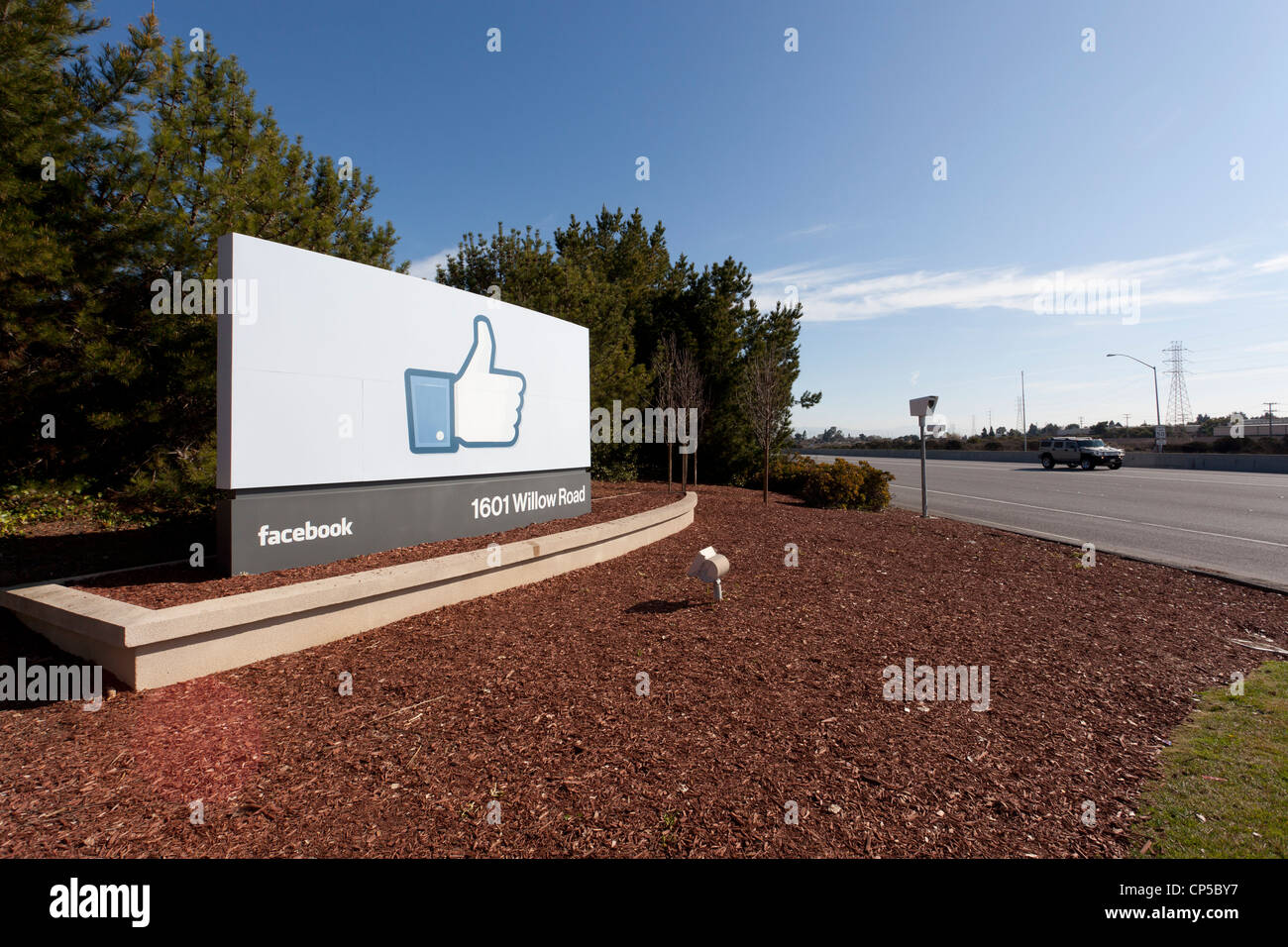 Facebook Sign, 1601 Willow Road, Menlo Park, CA 94025 Stock Photo
