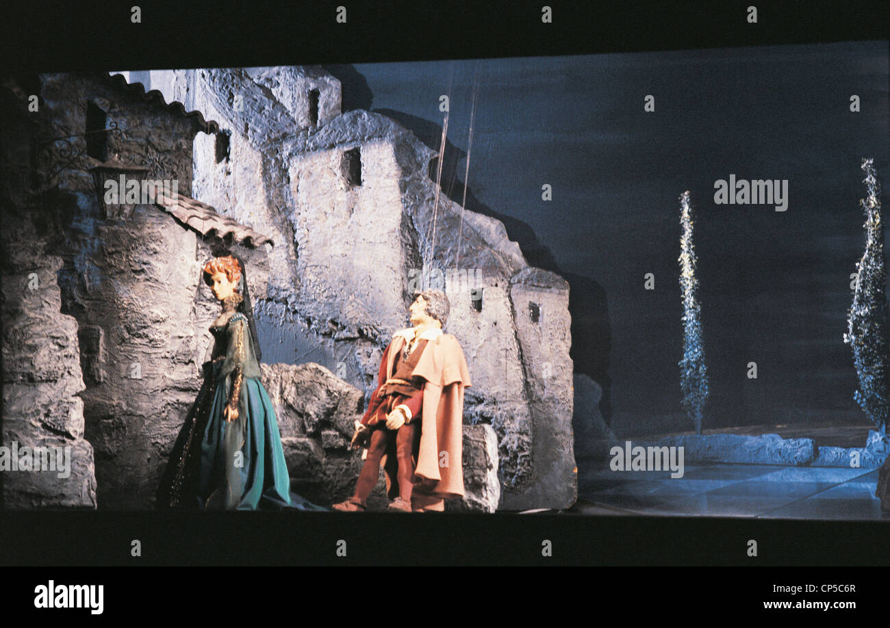 Wolfgang Amadeus Mozart (1756-1791), Don Giovanni or dissolute punished, 1787. Performance at Teatro delle Marionette - Stock Image