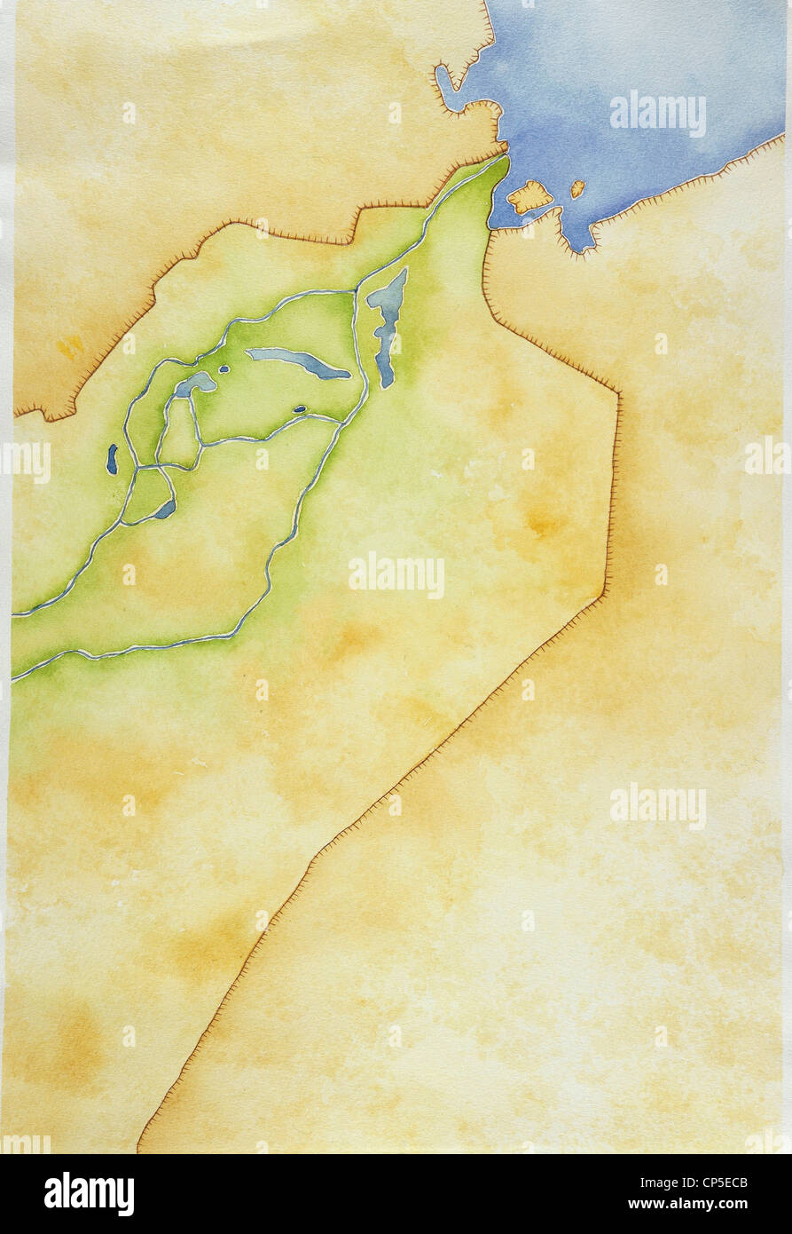 Cartography. Outline map of Mesopotamia and the Euphrates. Drawing. - Stock Image