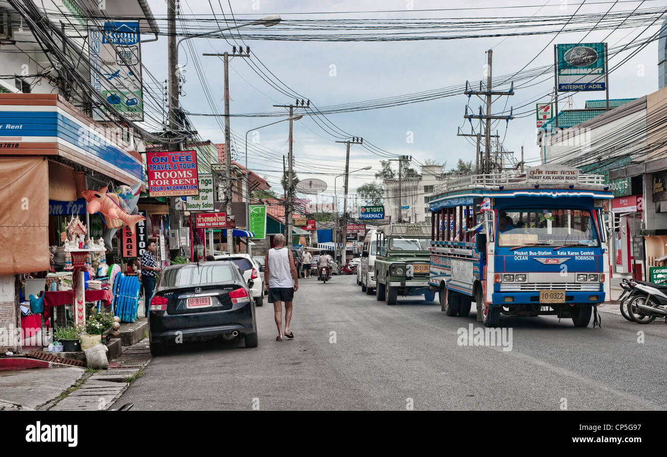 streetscape in karon beach area of phuket thailand - Stock Image
