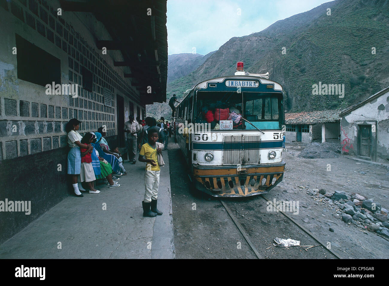 Ecuador - A autoferro, typical means of transport on rails, parked at a station en route from Ibarra to San Lorenzo. - Stock Image