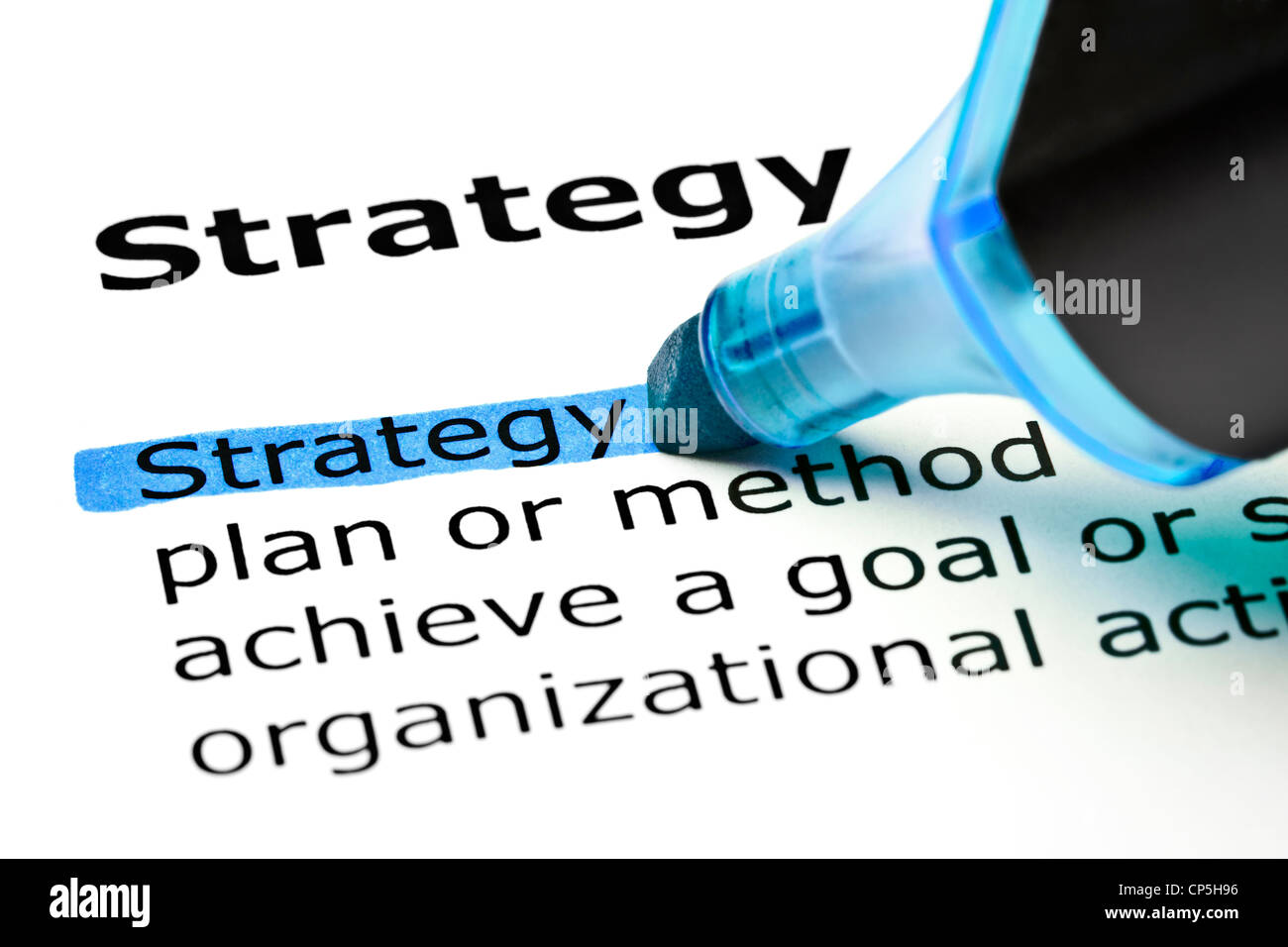 The word Strategy highlighted in blue with felt tip pen - Stock Image