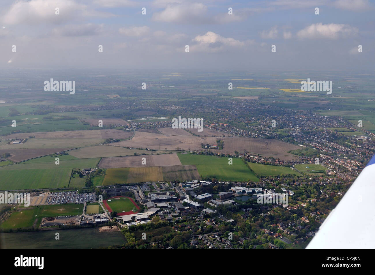 Aerial photography pilots view cockpit North West UK - Stock Image