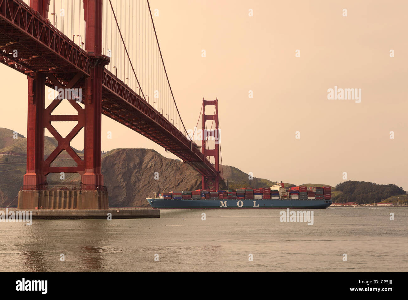 MOL (Mitsui OSK Lines) shipping container vessel leaving the San Francisco bay - California USA - Stock Image