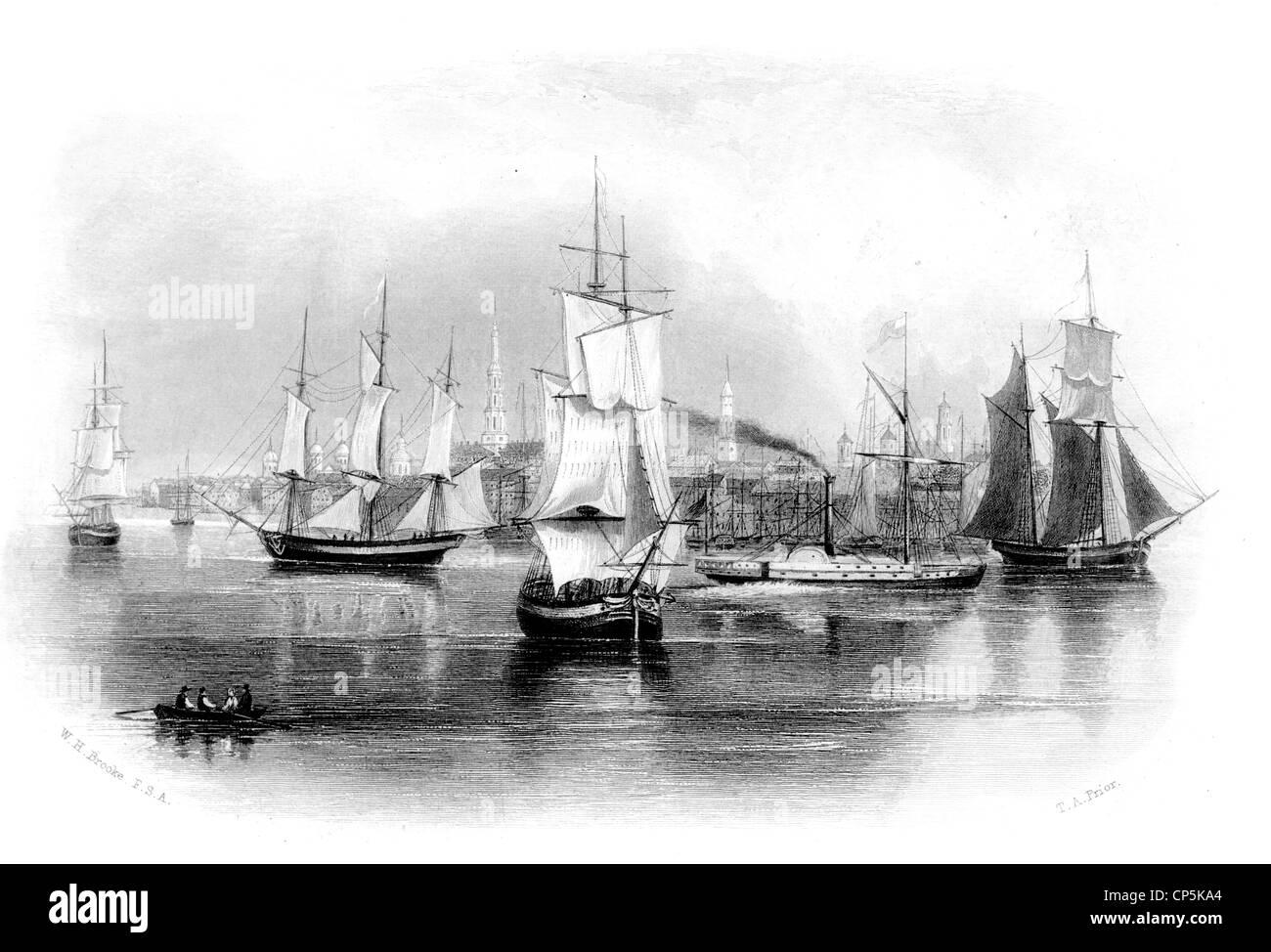 ships off Charleston, capital of South Carolina, USA, - Stock Image