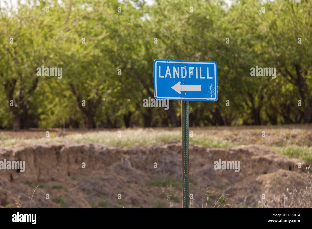 Landfill sign - USA - Stock Image