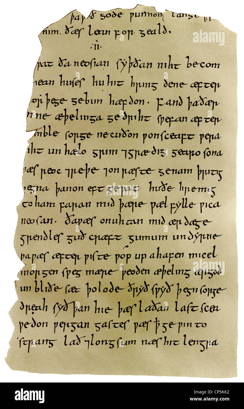 manuscript of Beowulf, an epic heroic poem in Anglo-Saxon alliterative verse from the 10th Century - Stock Image