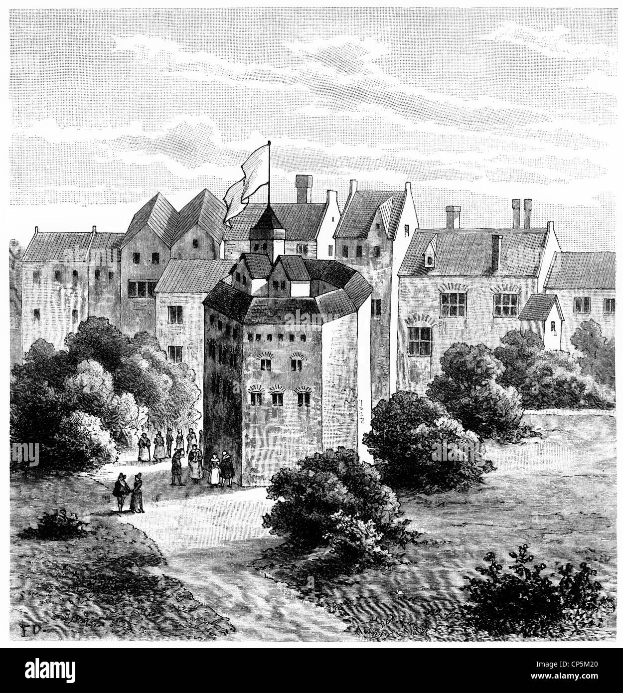 the Globe Theatre, 1599, a theater in London at the time of William  Shakespeare, 1564 - 1616, an English playwright, poet actor