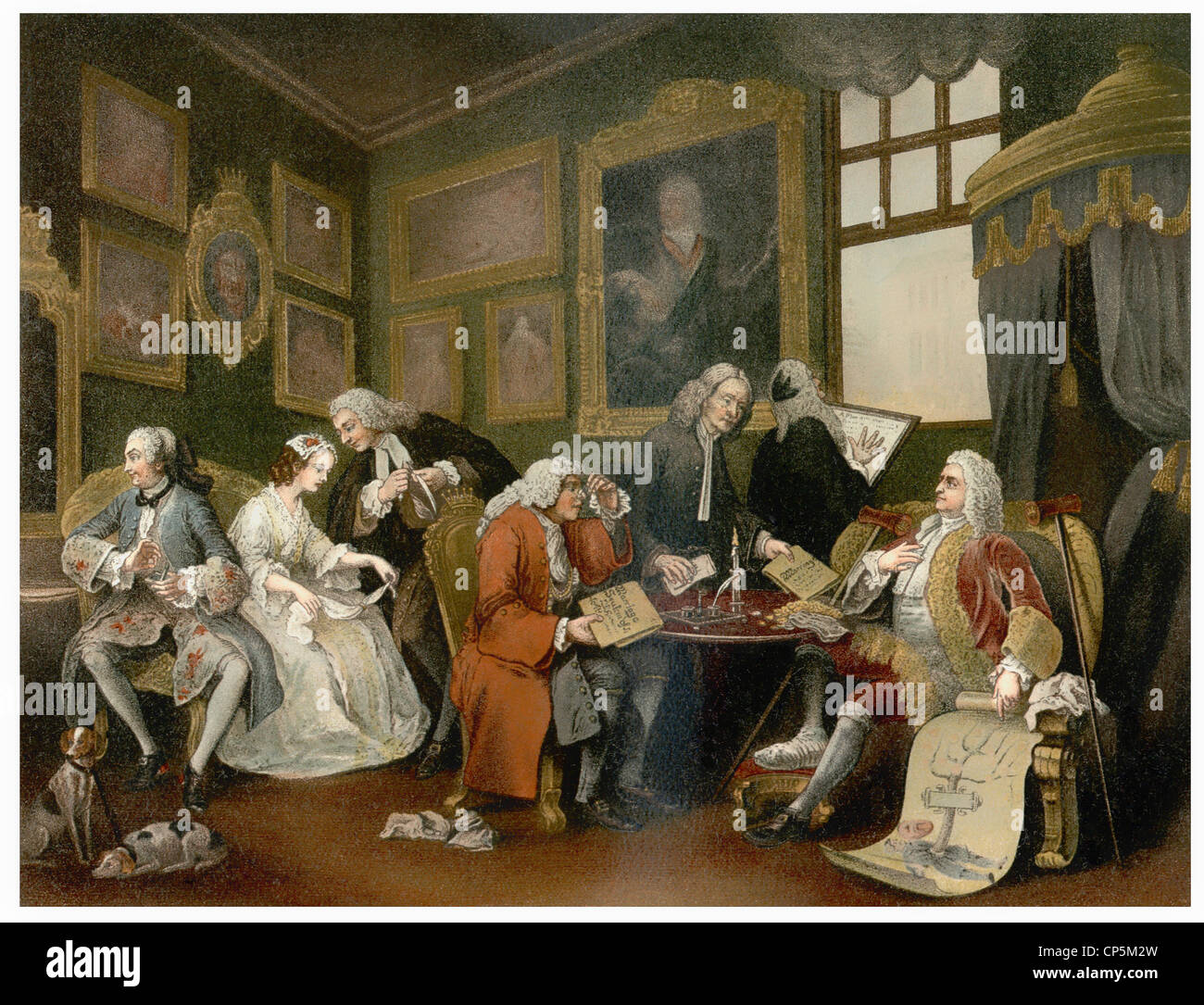 the Marriage Contract, 1743, by William Hogarth, 1697 - 1764, a socially critical English painter and printmaker Stock Photo