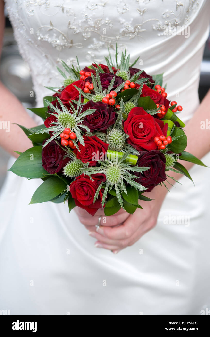 Bride Bouquet Red Rose Flowers Stock Photos & Bride Bouquet Red Rose ...