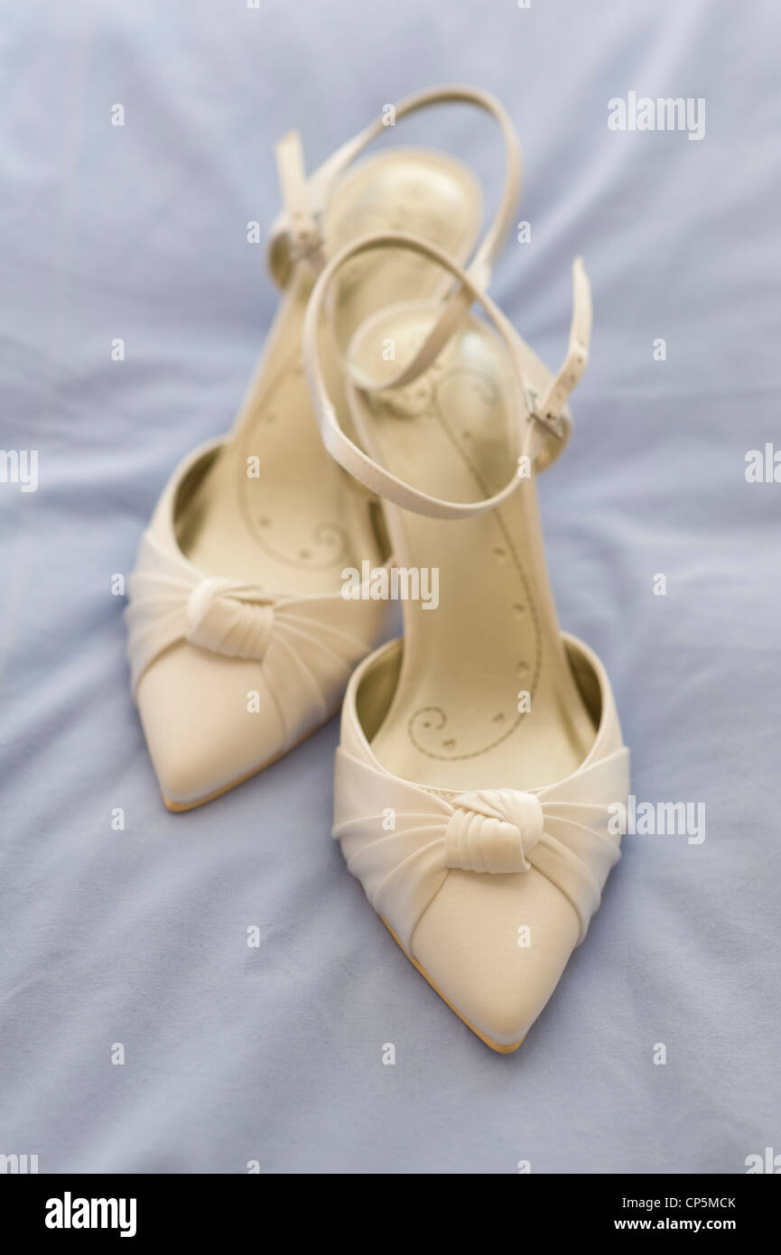 wedding shoes of the bride Stock Photo