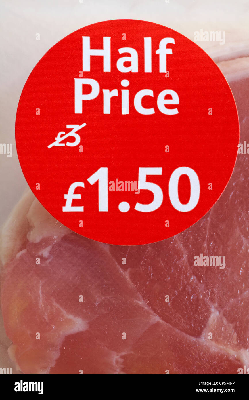 Half price sticker on pack of Bacon - Stock Image