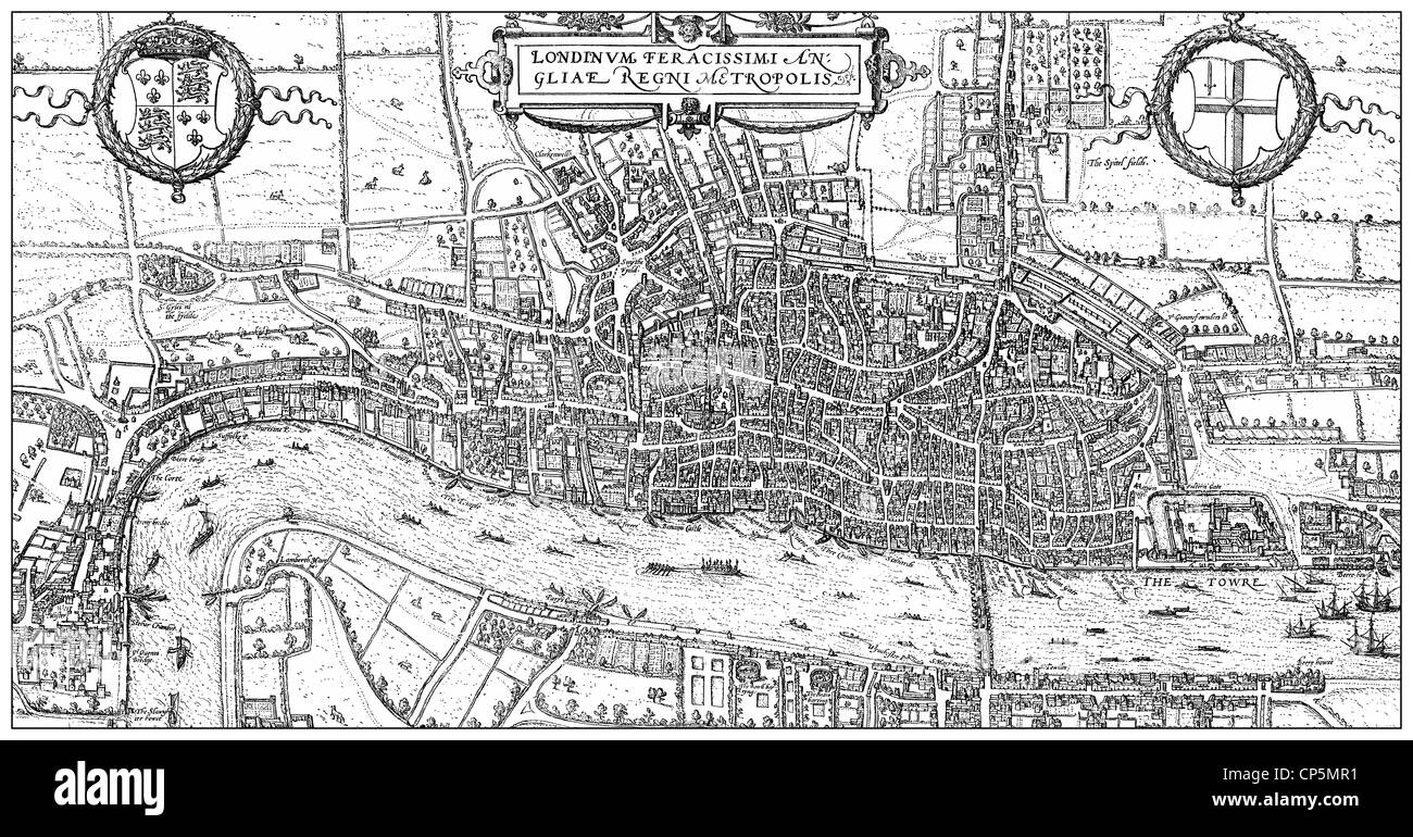 Historical drawing from the 19th century, map of London, England, 1575, - Stock Image